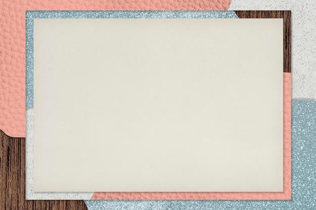 ピンクと青のコラージュテクスチャ背景イラストのフレーム