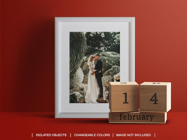 Frame photo card and calendar date mockup and scene creator for valentine's day concept