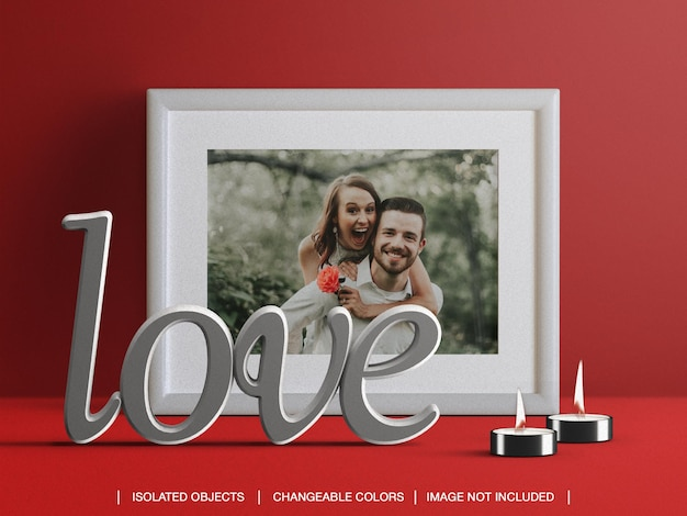 Frame photo card mockup and scene creator with candles and valentine's day decoration