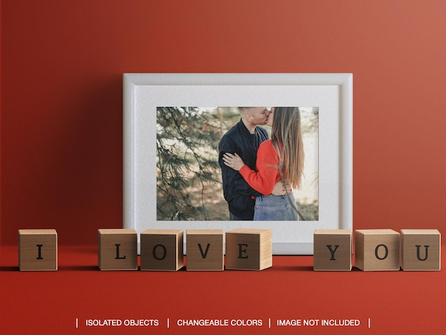 Frame photo card mockup for valentine's day concept with decorations isolated