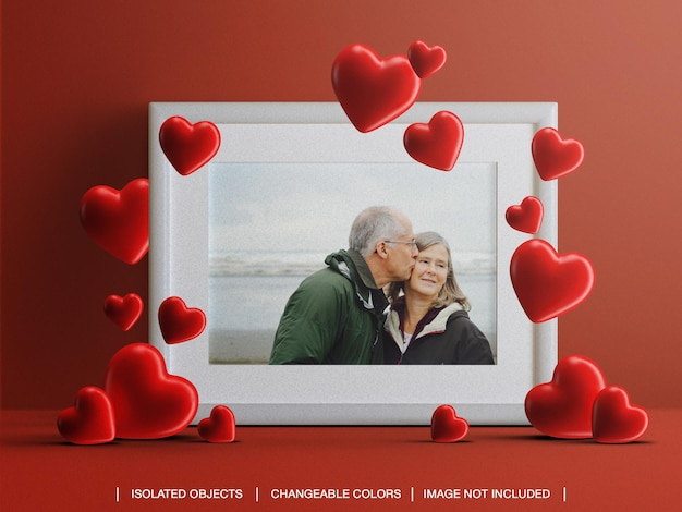 Frame photo card mockup for valentine's day concept with hearts isolated