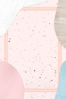 Frame on pink and blue collage textured background illustration