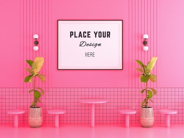 Frame on pink wall and tile with lamp