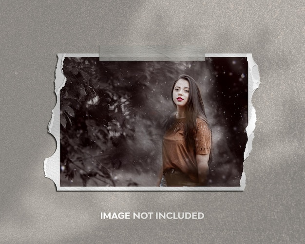 Frame portrait photo mockup on ripped paper