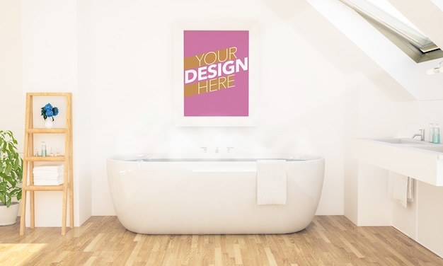 Frame poster mockup in bathroom