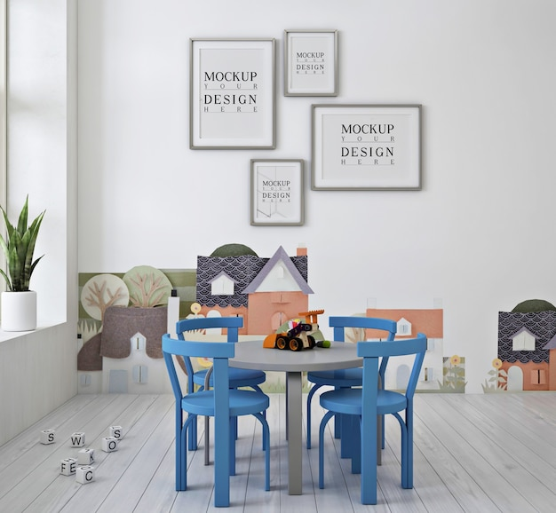 Frame poster mockup and blue chair in modern cute kindergarten