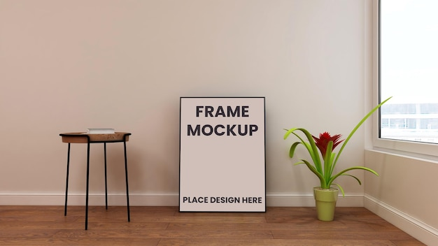 Frame poster mockup on floor with flower and chair in living room
