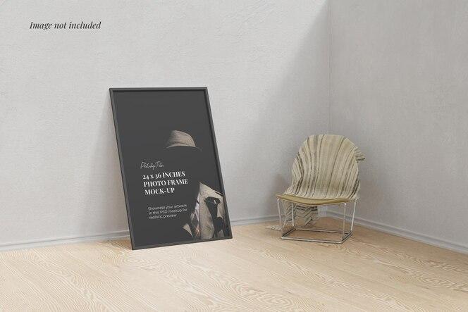 Frame poster mockup on the floor