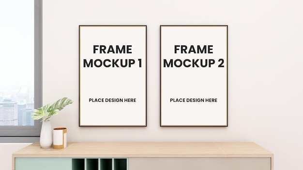거실 3d 인테리어 디자인의 프레임 포스터 모형