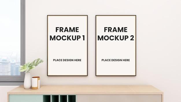 Frame poster mockup in living room 3d interior design