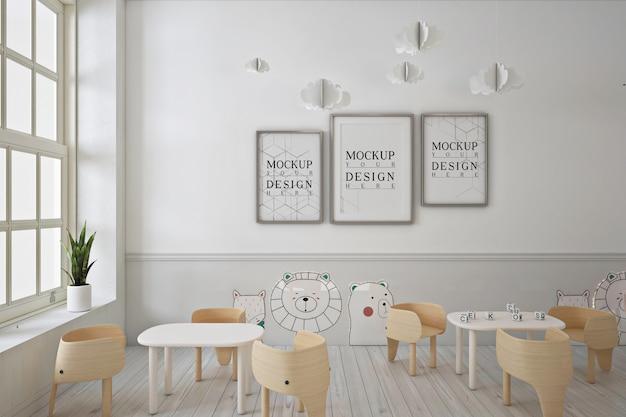 Frame poster mockup in modern contemporary kindergarten