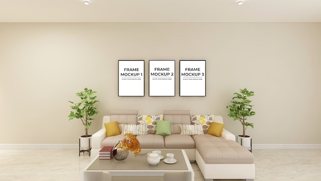 Frame poster mockup in office lobby waiting room 3d interior design