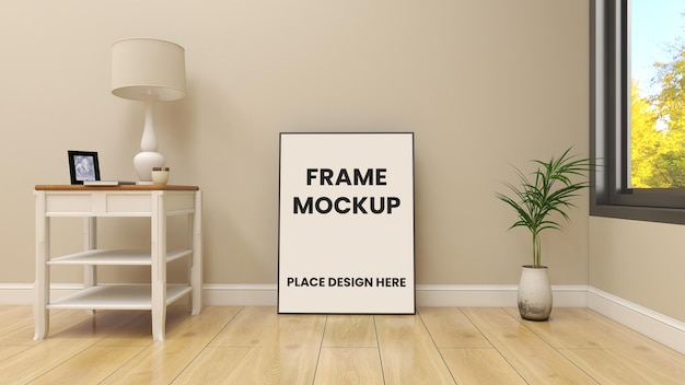 미니멀 한 인테리어 디자인으로 바닥에 프레임 포스터 모형