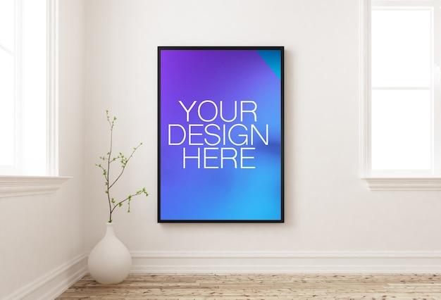 Рамка-макет плаката на внутренней стене у окна