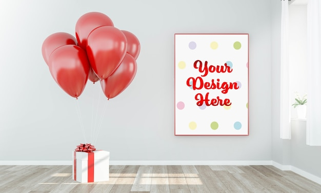 Frame poster mockup with gift and balloons