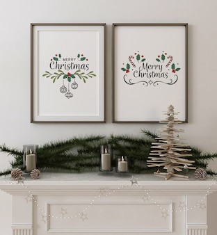 Frame poster mockup with wooden christmas tree and decoration