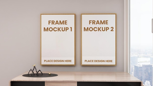 미니멀리스트 인테리어 디자인의 프레임 포스터 또는 사진 모형