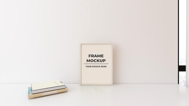 Frame poster template mockup in table with book