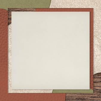 Frame on red and green collage patterned background vector
