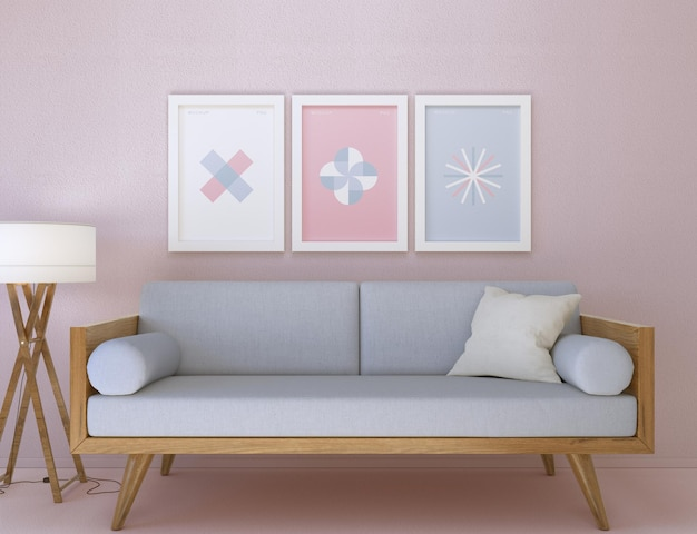 Frame and sofa mockup in living room