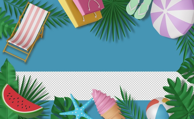 Frame summer accessory, summer season, 3d rendering