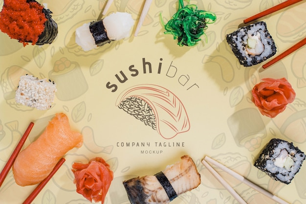 Frame of sushi rolls on table