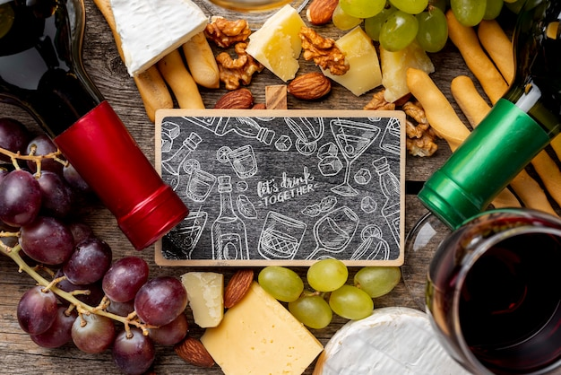 Frame of wine and chalkboard