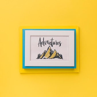 Frame with adventures word for traveling concept