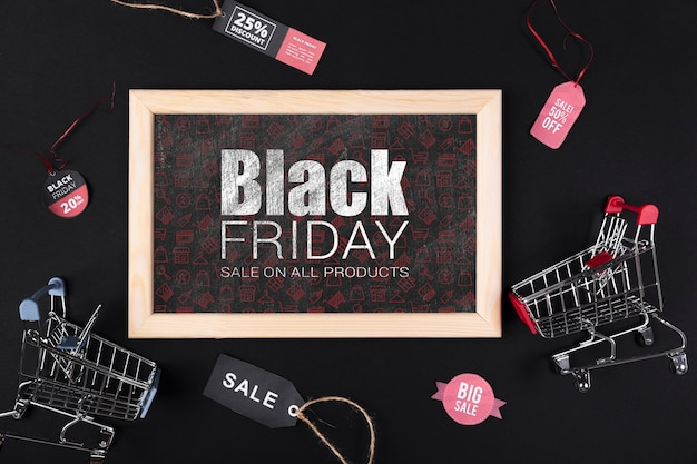 Frame with blackboard black friday promotion