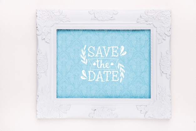 Frame with blue background save the date mock-up
