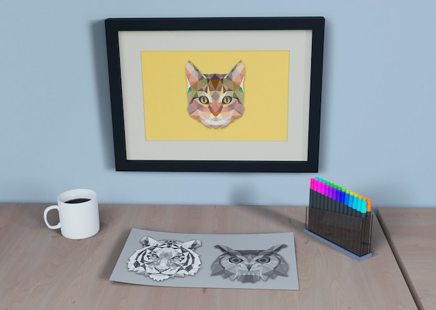 Frame with cat and sheet sketch beside
