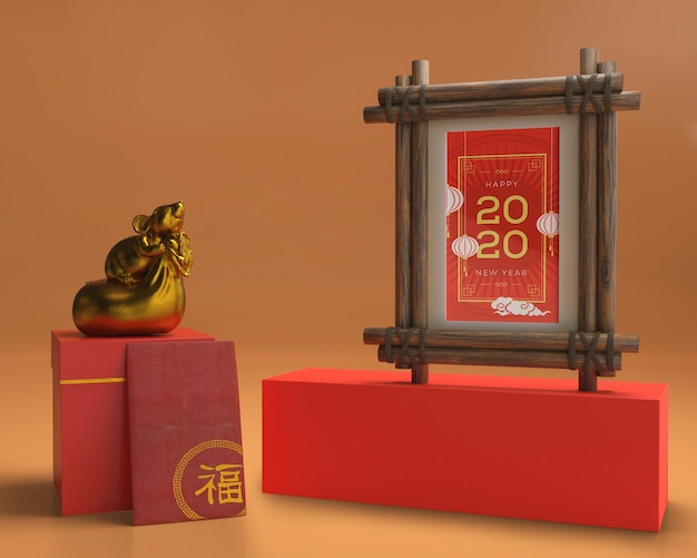Mock-up chinese new year greeting card | Free PSD File