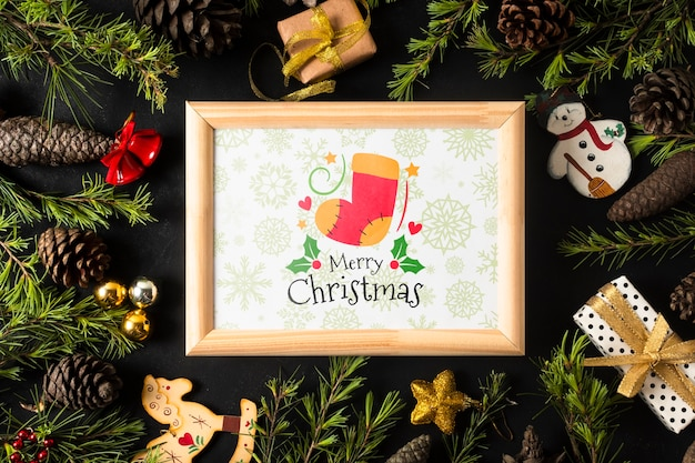 Frame with christmas theme on coronet