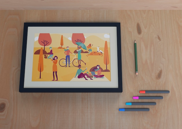 Frame with colorful draw with markers