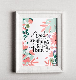 Frame with colorful motivational quote