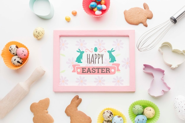 Frame with easter eggs and cookies