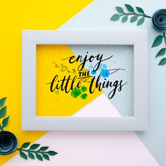 Frame with floral theme and positive message