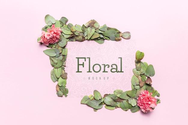 花と葉のモックアップとフレーム