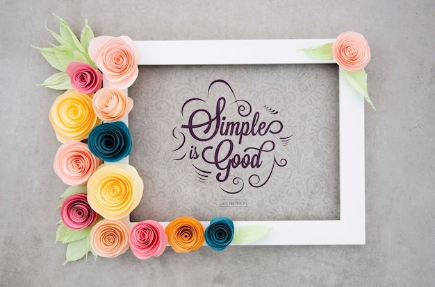 Frame with flowers and positive message