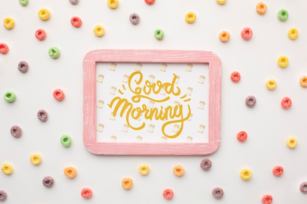 Frame with good morning message