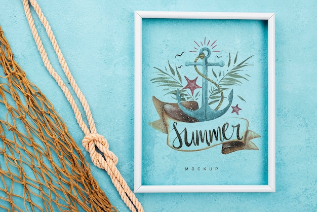 Frame with nautic message and fishing net