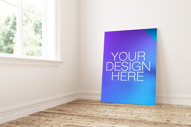Frame on wooden floor mockup