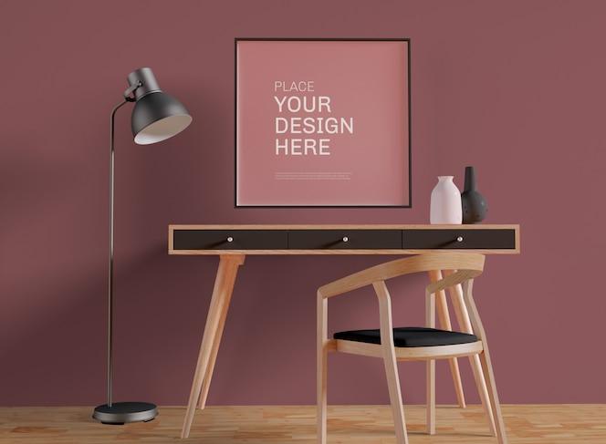 Обрамленный плакат на макете офисной стены