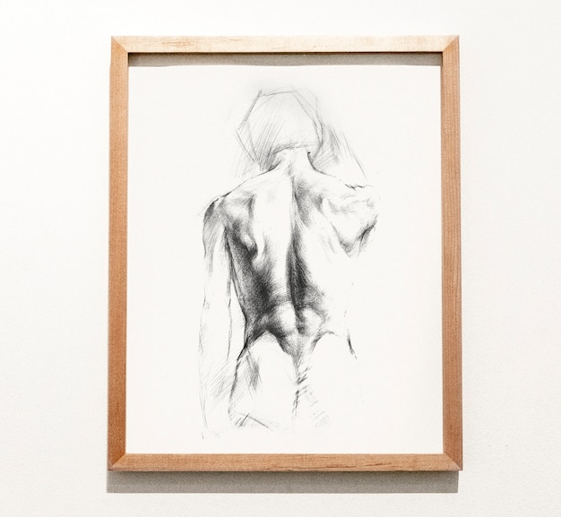 Framed sketch of a man's back