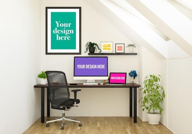 Макет рамок и устройств на офисном столе