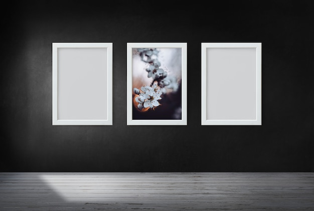 Frames on a black wall