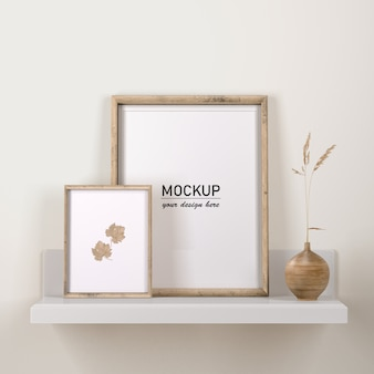 Frames decor with flower in vase