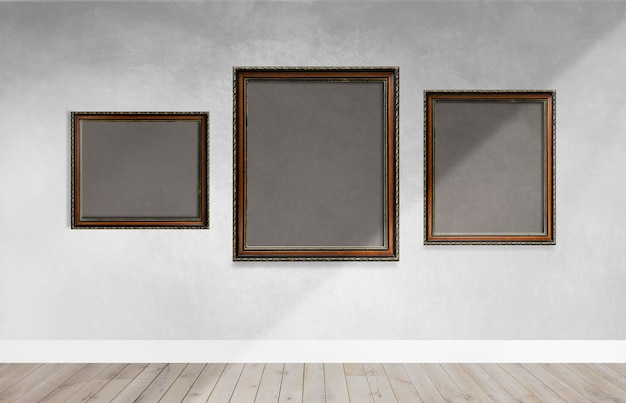 Frames on a gray wall