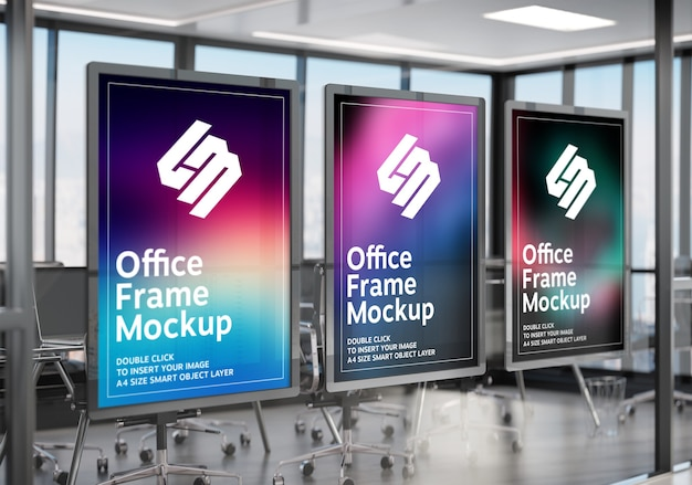 Frames hanging on office glass window mockup