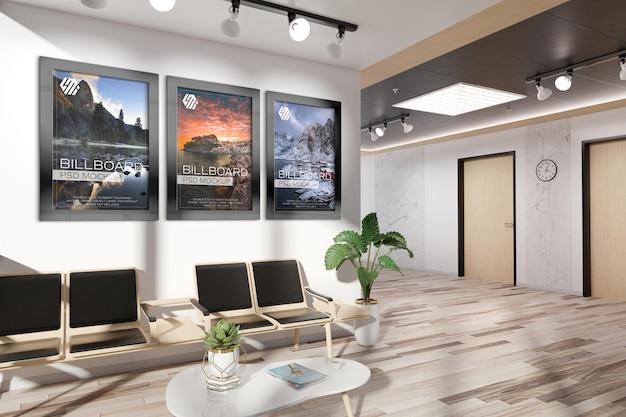 Рамки, висящие на макете стены офиса